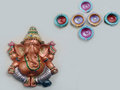 Ganesha Idol With 6 Sanku Shaped Diyas