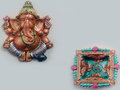 Ganesha Idol With Square Shaped Diya