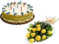 1 Kg Butterscotch Cake With 12 Yellow Roses Arrangement