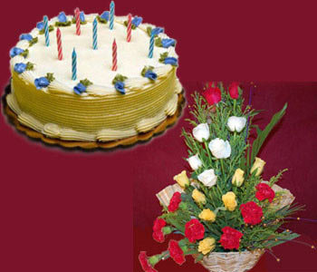 1-kg-butter-scotch-cake-with-18-mixed-roses-with-carnations