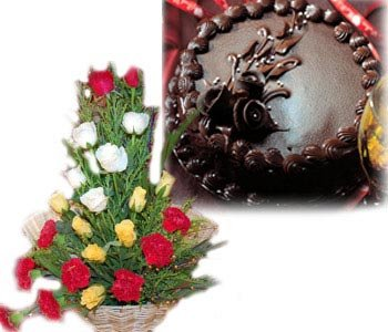 1-kg-chocolate-truffle-cake-with-18-mixed-roses-with-carnations
