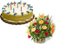 1 Kg Butterscotch Cake With 15 Red & Yellow Roses Basket