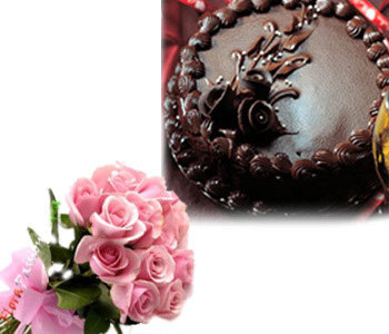 1-kg-chocolate-truffle-cake-with-12-pink-roses-bunch