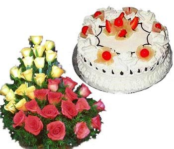 1kg-pineapple-cake-with-24-red-_-yellow-roses-basket