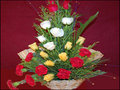 12 Mixed Roses with 6 Carnations along with Green Fillers