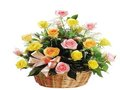 24 Mixed Roses in a Basket